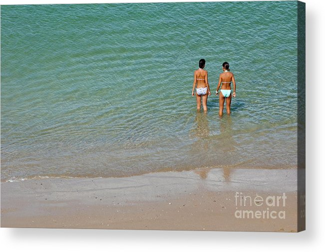 Bathing Suit Acrylic Print featuring the photograph Two Teenage Girls Bathing At The Beach by Sami Sarkis