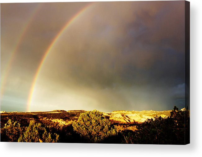 Rainbow Acrylic Print featuring the photograph Under The Rainbow by Magdalena Green