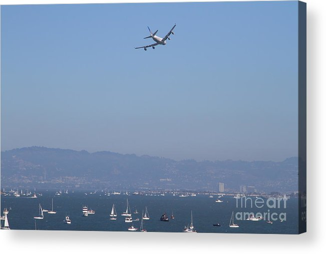 Transportation Acrylic Print featuring the photograph United Airlines Boeing 747 Over The San Francisco Bay At Fleet Week . 7d7860 by Wingsdomain Art and Photography