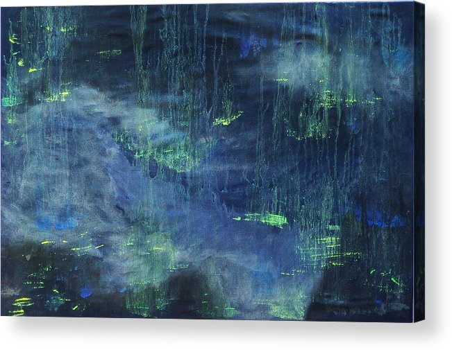 Abstract Acrylic Print featuring the painting Untitled Blue by Kim Nelson