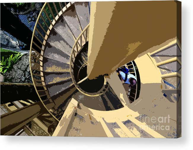 Spiral Staircase Acrylic Print featuring the painting Up The Spiral Staircase by David Lee Thompson