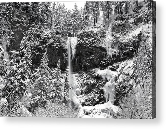 Upper Falls In Snow's Cover Acrylic Print featuring the photograph Upper Falls In Snow's Cover by Wes and Dotty Weber