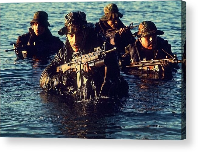 History Acrylic Print featuring the photograph Us Navy Seal Team Emerges From Water by Everett