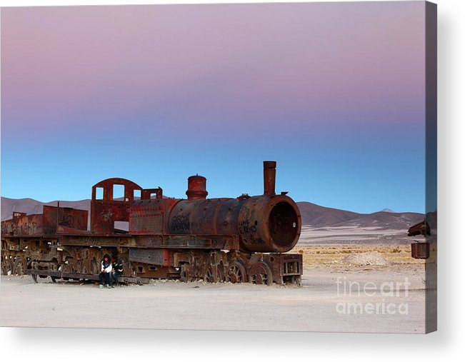 Steam Engine Acrylic Print featuring the photograph Uyuni Train Cemetery At Sunset by James Brunker