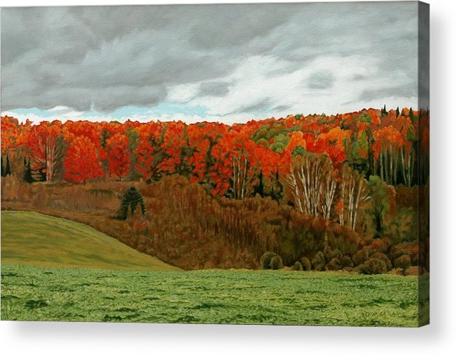 Landscape Acrylic Print featuring the painting Vardy Settlement Colour by Allan OMarra