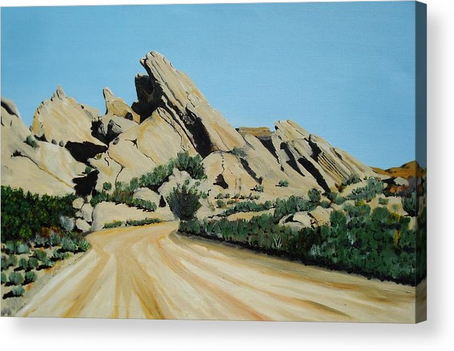Rocks Acrylic Print featuring the painting Vasquez Rocks by Stephen Ponting