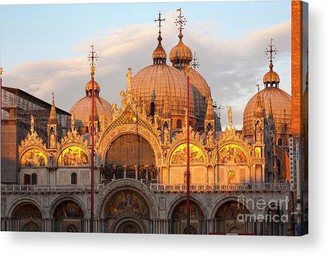 Venice Acrylic Print featuring the photograph Venice Church Of St. Marks At Sunset by Heiko Koehrer-Wagner
