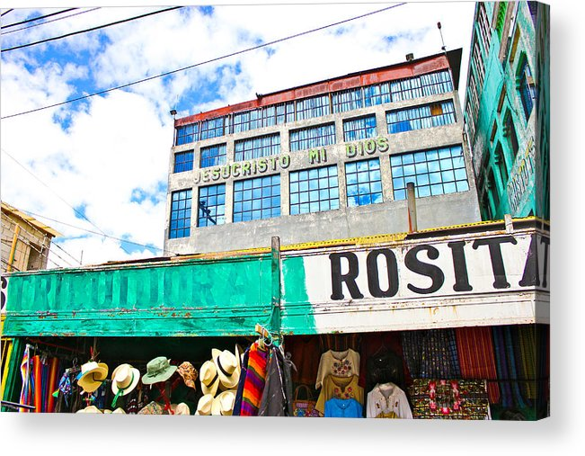 Guatemala Acrylic Print featuring the photograph Ventanas Azules by Theresa Muench