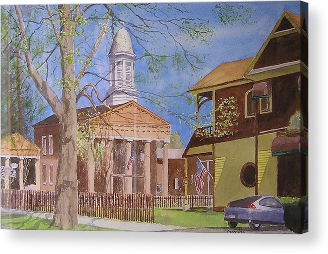 Hybrid Car Old Village Hall With Flags Acrylic Print featuring the painting Village Hall- Montour Falls by Joseph Stevenson
