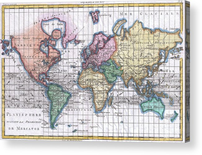 Vintage map of the world 1780 acrylic print by cartographyassociates world acrylic print featuring the drawing vintage map of the world 1780 by cartographyassociates gumiabroncs Gallery