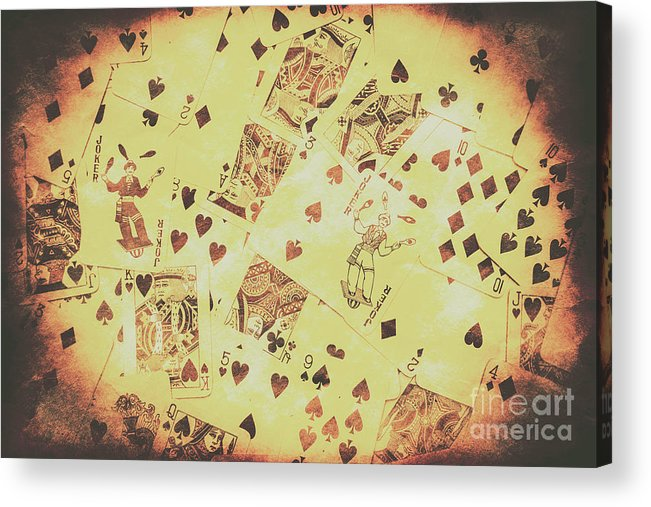 Poker Acrylic Print featuring the photograph Vintage Poker Card Background by Jorgo Photography - Wall Art Gallery