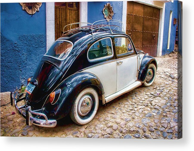 Volkswagen Acrylic Print featuring the photograph Vintage Vw Bug In Mexico by Carol Leigh