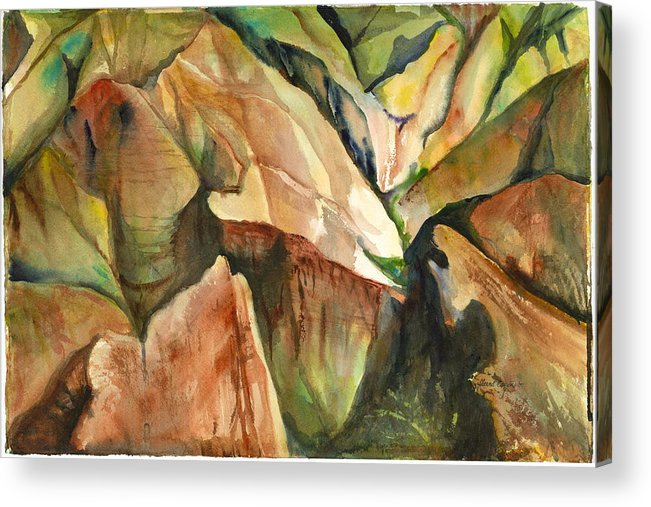 Landscape Of Mountain And Canyons Acrylic Print featuring the painting Waimea Canyon by Ileana Carreno