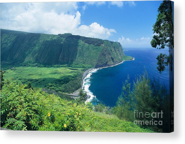 Aerial Acrylic Print featuring the photograph Waipio Valley Lookou by Greg Vaughn - Printscapes