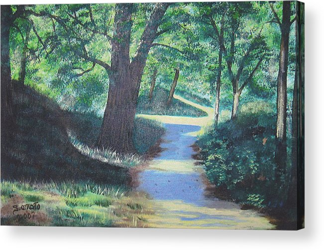 Landscape Acrylic Print featuring the painting Walk In The Park by Sachiko Omoto