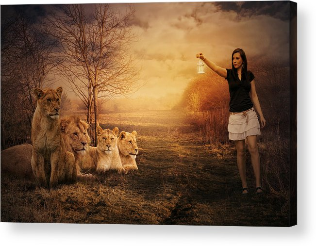 Woman Acrylic Print featuring the photograph Walking Between Lions by Zita Stankova
