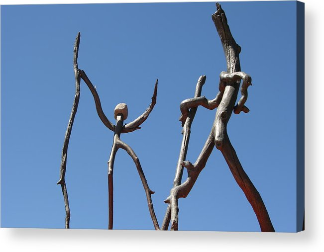 Bronze Acrylic Print featuring the sculpture Walking by Thor Sigstedt