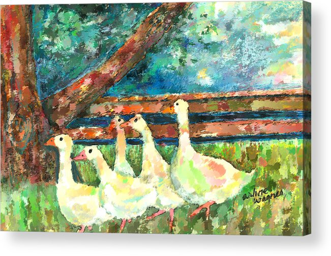 Ducks Acrylic Print featuring the mixed media Walking Through The Grass by Arline Wagner