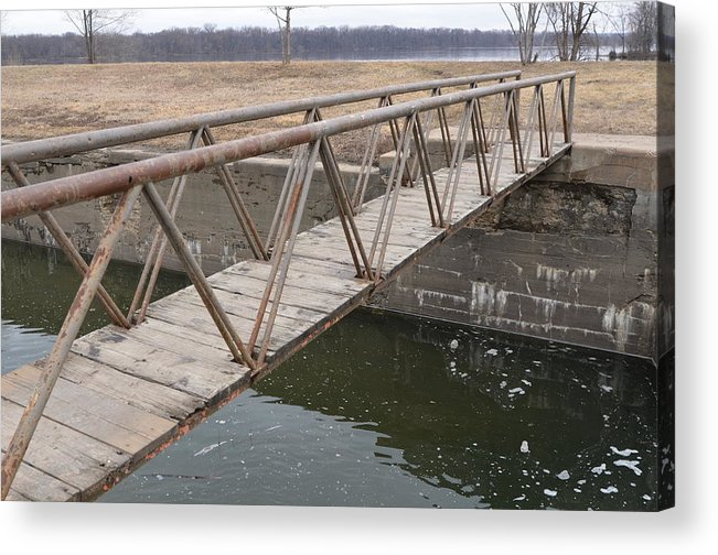 Hennepin Canal Acrylic Print featuring the photograph Walkway Over The Canal by Tammy Mutka
