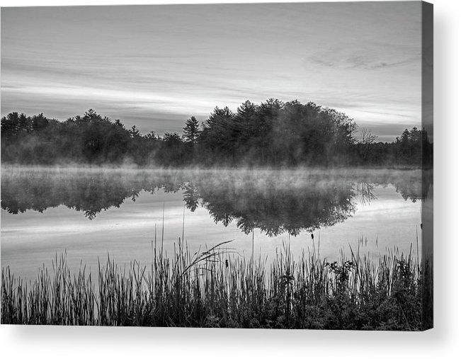 Wallis Acrylic Print featuring the photograph Wallis Sands Marsh Smoke On The Water Rye Nh Black And White by Toby McGuire