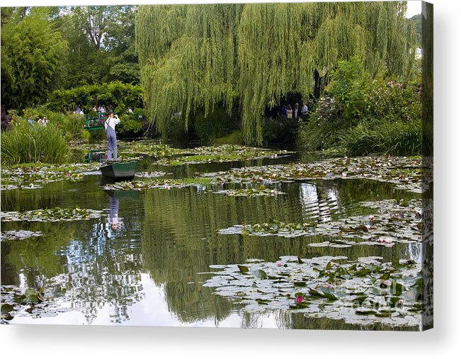 Monet Gardens Giverny France Water Lily Punt Boat Water Willows Acrylic Print featuring the photograph Water Lily Garden Of Monet In Giverny by Sheila Smart Fine Art Photography