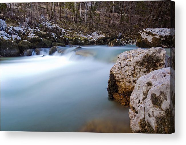 Alpine Acrylic Print featuring the photograph Waterfall In Slovenian Alps by Andre Goncalves