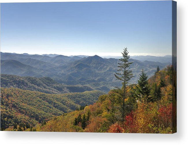 Blue Ridge Parkway Acrylic Print featuring the photograph Waterrock Knob On Blue Ridge Parkway by Darrell Young