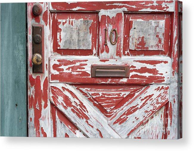 Door Acrylic Print featuring the photograph Weathered Red Door 1 by Deborah Brown