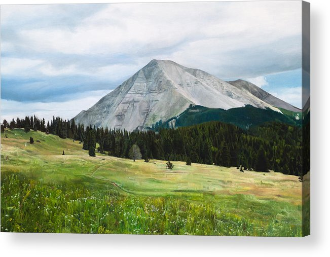 Landscape Acrylic Print featuring the painting West Spanish Peak In Summer by Joshua Martin
