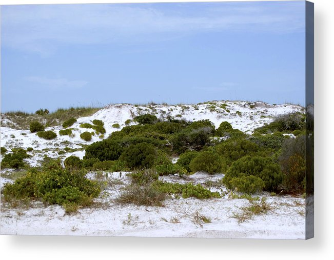 Sand Acrylic Print featuring the photograph White Sand Dunes And Blue Skies by Tina B Hamilton