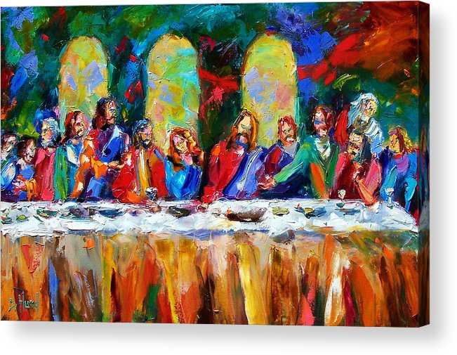 Last Supper Acrylic Print featuring the painting Who Among Us by Debra Hurd