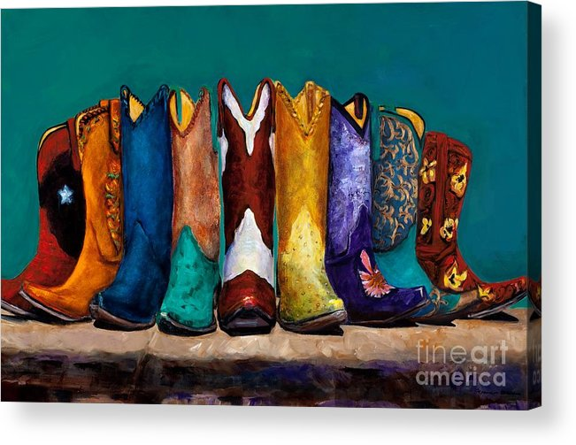 Cowboy Boot Acrylic Print featuring the painting Why Real Men Want To Be Cowboys 2 by Frances Marino