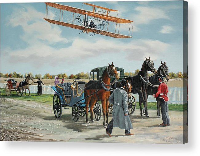 Aircraft Art Acrylic Print featuring the painting Wilbur Wright In France by Kenneth Young