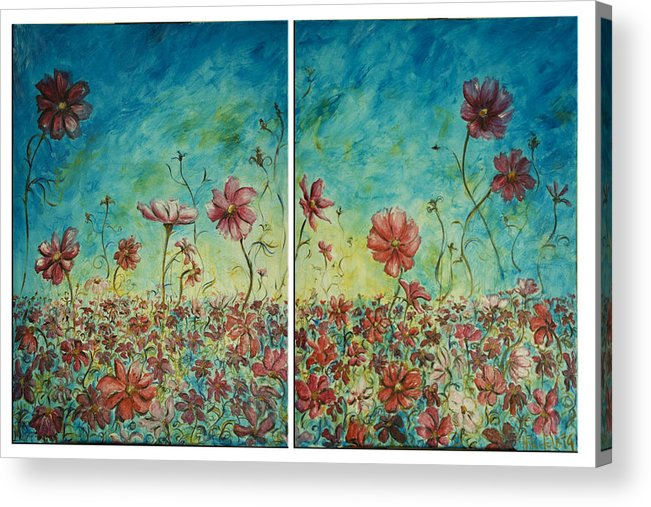 Flowers Acrylic Print featuring the painting Wind Dancers by Nik Helbig