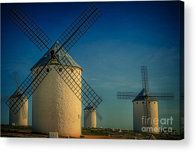 Windmills Acrylic Print featuring the photograph Windmills Under Blue Sky by Heiko Koehrer-Wagner