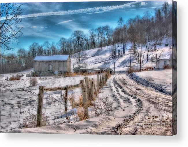 Barn Acrylic Print featuring the digital art Winter Farm Barn In Snow by Randy Steele