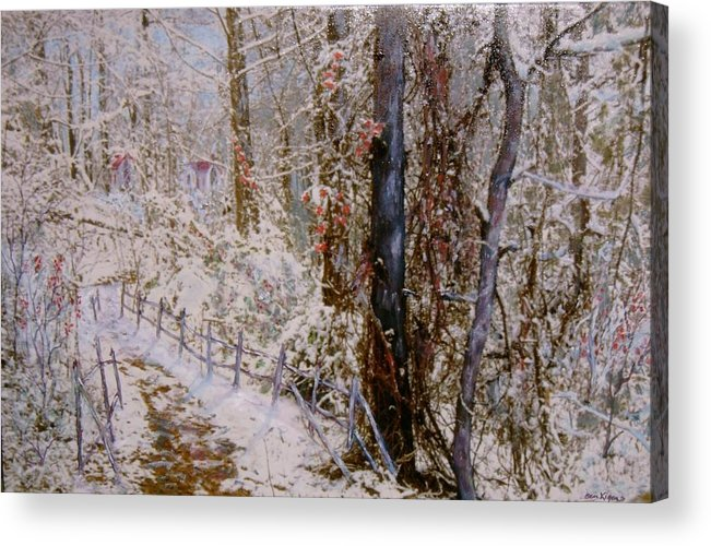 Snow; Trees Acrylic Print featuring the painting Winter Wonderland by Ben Kiger