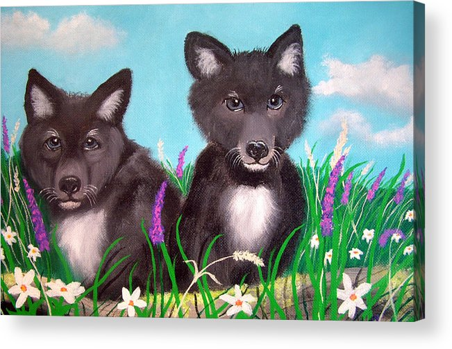 Wolf Acrylic Print featuring the painting Wolf Pups by Nick Gustafson