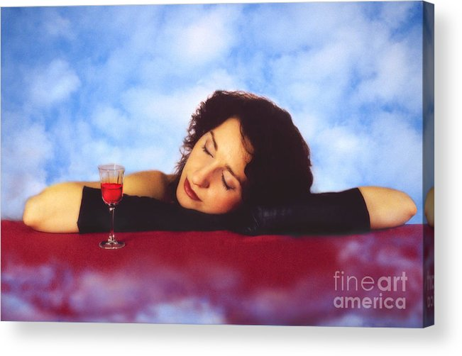 Wine Acrylic Print featuring the photograph Woman And Wine by Renata Ratajczyk