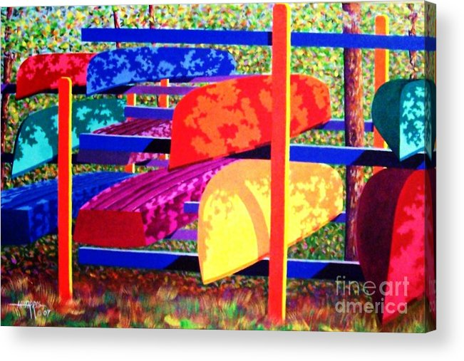 Woods Acrylic Print featuring the painting Woodsy Boat Rack by Hugh Harris