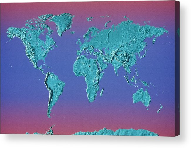 Horizontal Acrylic Print featuring the photograph World Land Mass Map by Vladimir Pcholkin