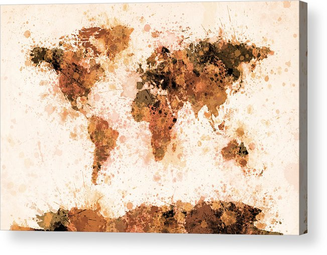 Map Of The World Acrylic Print featuring the digital art World Map Paint Splashes Bronze by Michael Tompsett