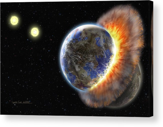 Lynette Cook Acrylic Print featuring the painting Worlds In Collision by Lynette Cook