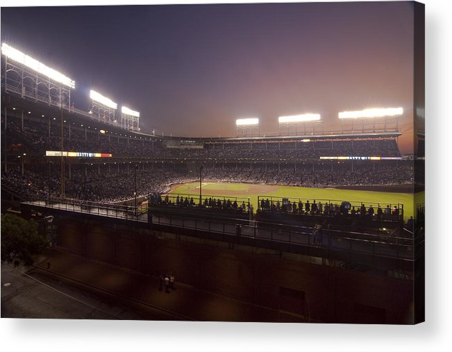 Cubs Acrylic Print featuring the photograph Wrigley Field At Dusk 2 by Sven Brogren