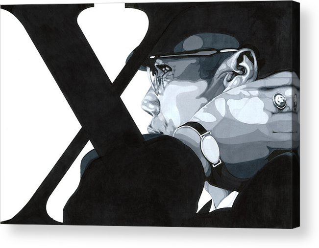 Grey Scale Acrylic Print featuring the drawing X by Lamark Crosby