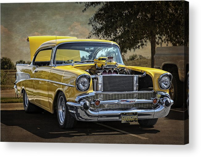 Chevy Acrylic Print featuring the photograph Yellow 57 by Tony Colvin
