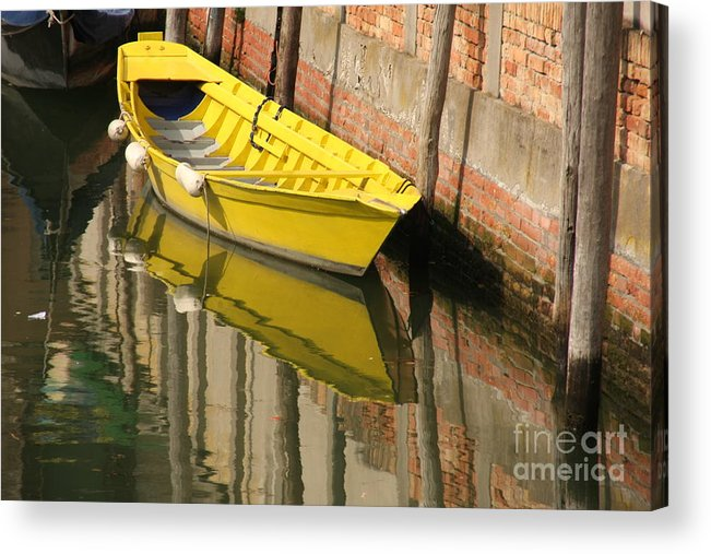 Venice Acrylic Print featuring the photograph Yellow Boat In Venice by Michael Henderson