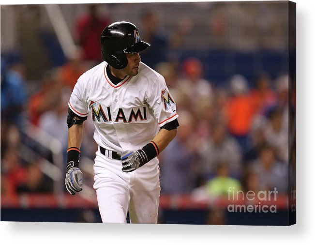 Second Inning Acrylic Print featuring the photograph Baltimore Orioles V Miami Marlins 1 by Rob Foldy
