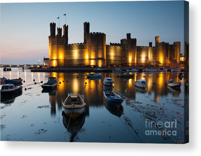 Tide Acrylic Print featuring the photograph Caernarfon Castle , North Wales by Stocker1970