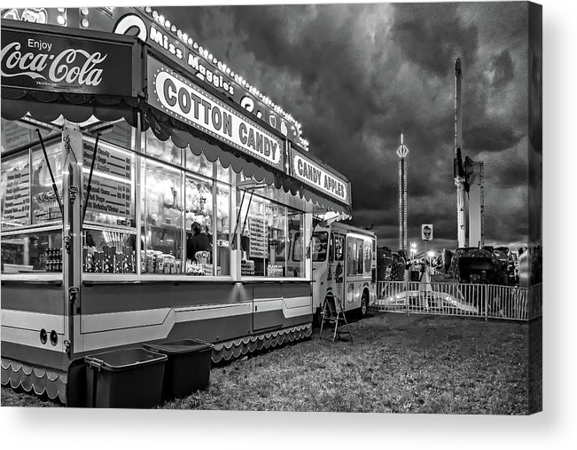 Bolton Acrylic Print featuring the photograph On The Midway - Temptations Of The Night 4 Bw by Steve Harrington